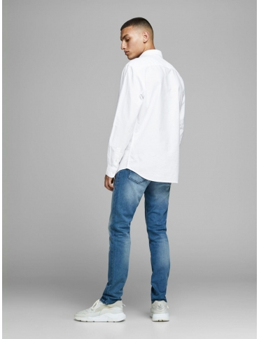 JackJones Oxford camisa blanca manga larga liso cuello camisero
