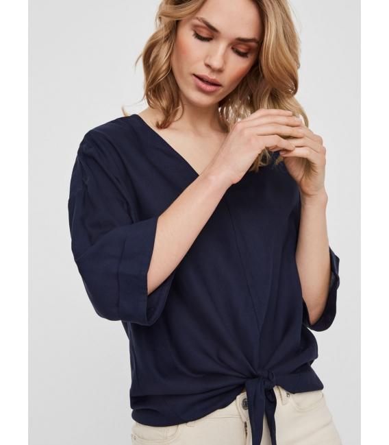 Noisy May Keke blusa marino manga corta liso cuello pico