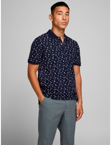 Jack and Jones Pedro polo marino manga corta dibujos