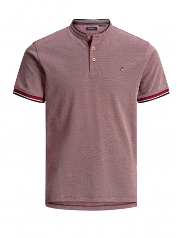 Jack and Jones Win polo rojo liso cuello mao