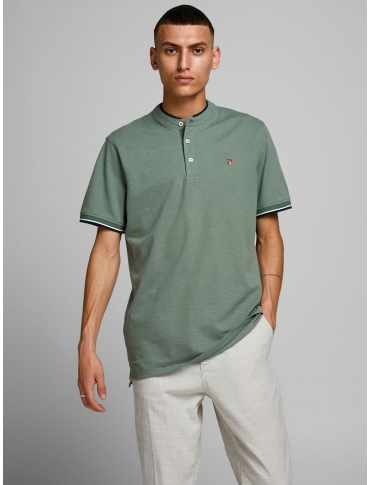 Jack and Jones Win polo verde liso cuello mao