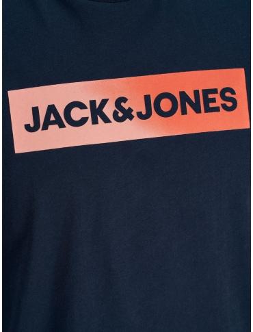 Jack and Jones Top camiseta marino manga corta logo cuello redondo