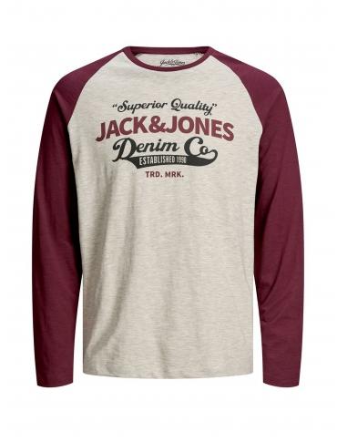 Jack and Jones Eraglan camiseta burdeos manga larga cuadros