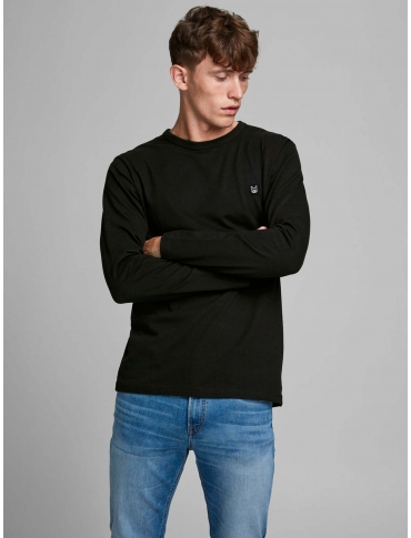Jack and Jones Long sudadera de algodón orgánico negro