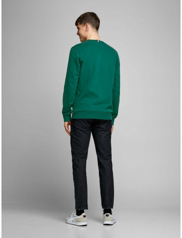 Jack and Jones Standard sudadera verde manga larga letras cuello redondo