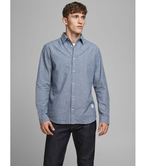 Jack and Jones Classic Camia de cuadros azul manga larga rayas