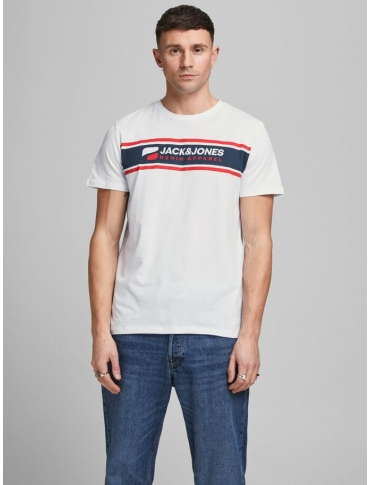 Jack and Jones Art camiseta blanca manga corta logo cuello redondo casual