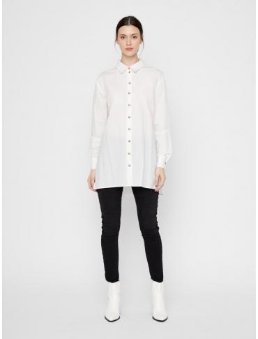 Pieces Shiloh camisa de algodón orgánico blanca liso